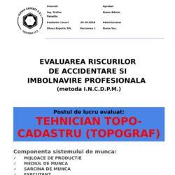 Evaluarea riscurilor de accidentare si imbolnavire profesionala Tehnician Topo-cadastru Topograf