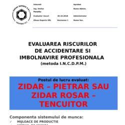Evaluare riscuri SSM Zidar – Pietrar sau Zidar Rosar – Tencuitor